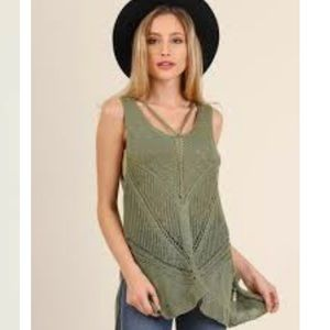 Umgee olive green sleeveless sweater
